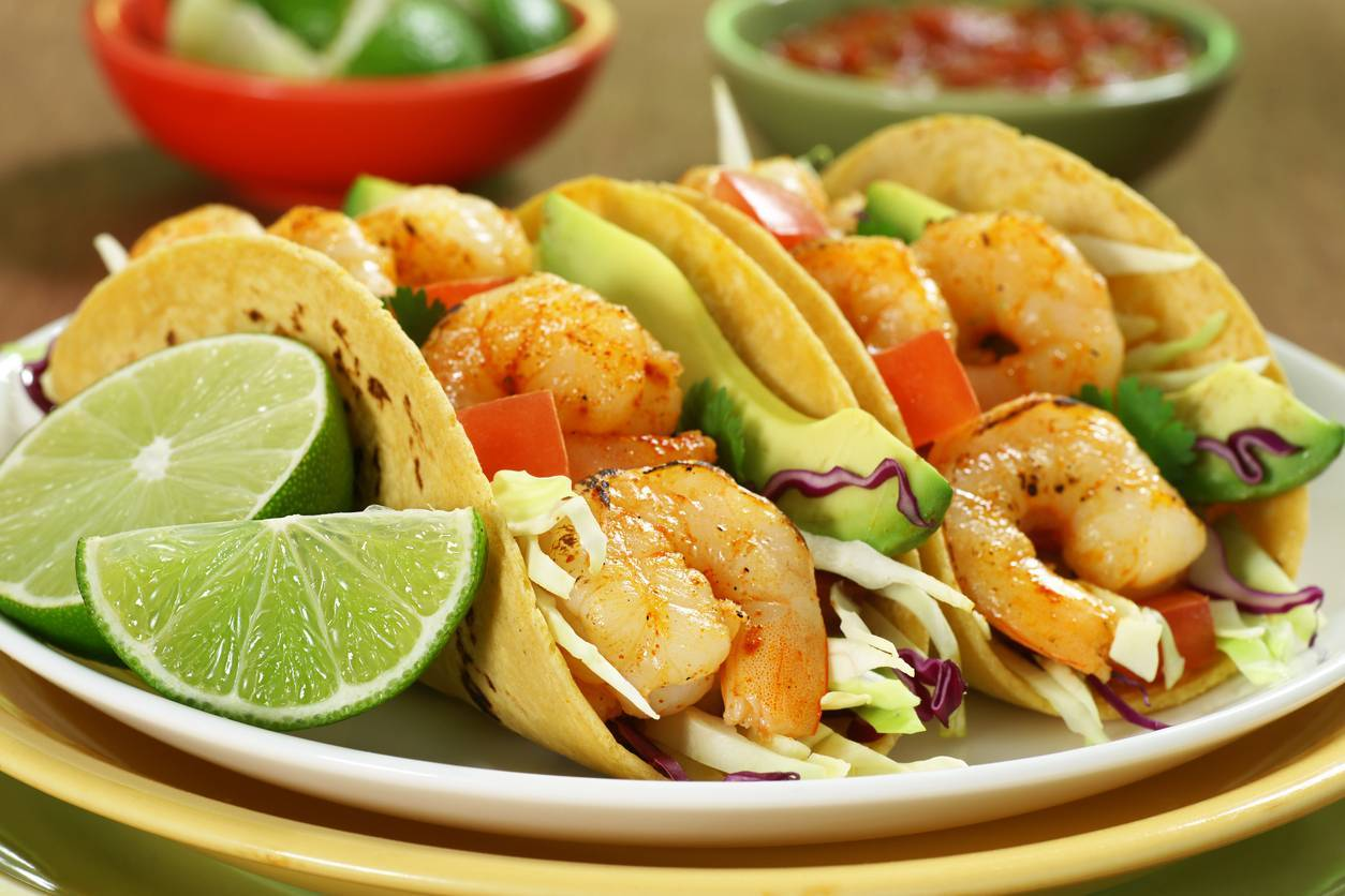 Grilled Shrimp, Corn & Mango Tacos